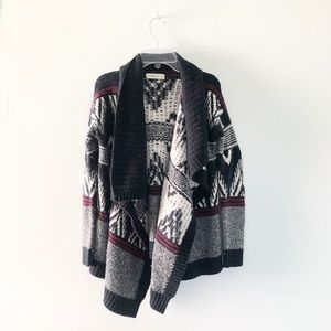 Abercrombie & Fitch Black Tribal Cardigan Sweater